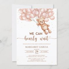 Brown We Can Bearly Wait Teddy Bear Baby Shower Invitation Teddy Bear Baby Shower, Baby Boy Shower, Baby Showers, Classic Wedding Invitations, Custom Invitations, Christening Invitations, Baby Shower Invitations, Free Birthday Card, Beautiful Baby Shower