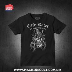 Camiseta Caveira Moto - Cafe Racer - Machine Cult | Loja online especializada em camisetas, miniaturas, quadros, placas e decoração temática de carros, motos e bikes