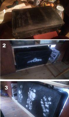 Test šablón na starý kufor.. šablónky z Aliexpress - 6 šablón za 2,18€  :-)