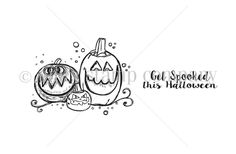 """From the Stamp of the Week Collection.  Created by Angie Blom.  Pumpkins measure approximately 1.75"""" x 2.25"""".  """"Get spooked this Halloween"""" sentiment measures approximately .5"""" x 1.75"""".  All Unity Stamps are pre-cut, mounted on cling foam and ready to use right out of the package – you can mount our stamps on any acrylic block. Unity is known for its HIGH QUALITY red rubber stamp – to be used for years to come."""
