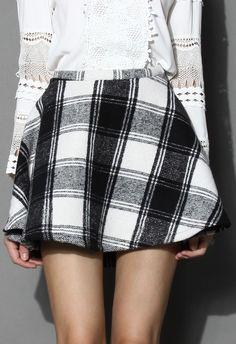 Tartan Twill Mini A-line Skirt