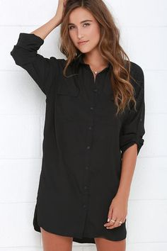 City Strut Black Shirt Dress