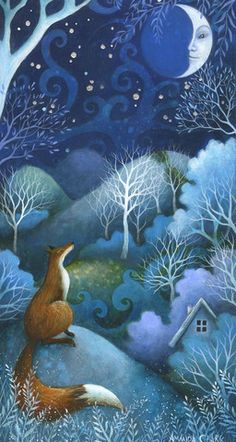 Talking to the Moon is an enchanting original acrylic painting by Amanda Clark. The painting is float mounted in a glazed . Fantasy Kunst, Fantasy Art, Talking To The Moon, Clark Art, Illustration Noel, Fairytale Art, Fox Art, Whimsical Art, Illustrators