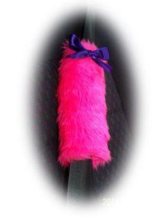 Fuzzy faux fur barbie pink car seatbelt pads with purple satin...