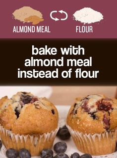 It's nutty and delicious and you get to skip the refined-flour energy spike. Almond flour is heavier, so you may want to start by replacing half of the regular flour in a recipe, or add a little extra leavening (eggs, baking powder, etc.) to help it rise. Get tips and a recipe for these blueberry muffins