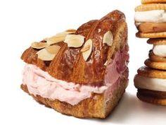 Cherry-Almond Croissants  : Cut  <b>almond croissants</b> in half, then split open. Lightly toast and let cool. Sandwich with  <b>cherry-vanilla ice cream. </b>