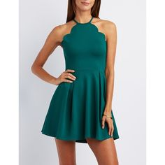 Charlotte Russe Scalloped Bib Neck Skater Dress ($35) ❤ liked on Polyvore featuring dresses, emerald, blue skater dress, charlotte russe, bib dress, skater dress and zipper dress