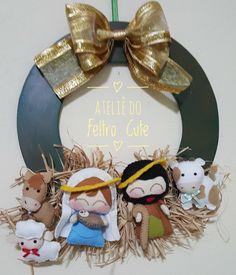 Christmas Deco, Christmas Projects, Christmas Wreaths, Merry Christmas, Christmas Ornaments, Nativity Creche, Felt Banner, 242, Felt Crafts