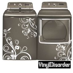 Washing Machine Decal - Floral Design - Vinyl Decal - Car Decal - You know I never thought of doing this. It sure would dress things up! Laundry Room Decals, Laundry Room Design, Vinyl Wall Decals, Wall Stickers, Laundry Rooms, Laundry Area, Laundry Tips, Laundry Closet, Room Paint Colors