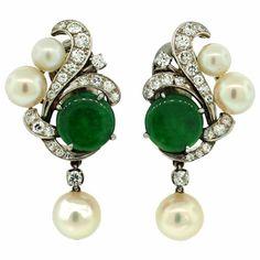 Jade, Diamond, Pearl  Platinum Art Deco Earrings