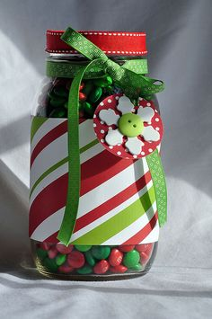 jar decor Christmas wrapping: good way to use those wrapping paper scraps!!!