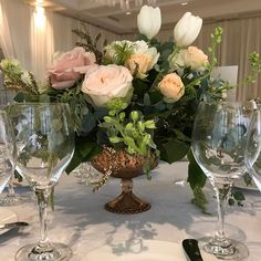 What a romantic boho chic wedding day with rose gold accents and organic florals. Rose Wedding, Chic Wedding, Wedding Day, Cabbage Roses, Simple Weddings, Gold Accents, Boho Chic, Florals, Glass Vase