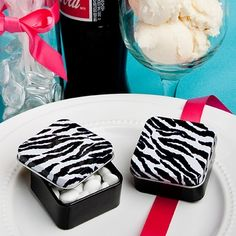 Zebra Stripe Mint Tin Wedding Favor Boxes - oh yes! affordableelegancebridal.com