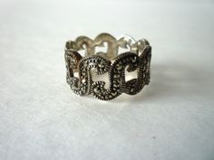 Vintage 1960's Marcasite Ring 925 Sterling Silver sz by TaMuidBeo, $45.00