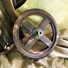 """Antique Wooden Pulley Wheel - Old 19"""" Equipment Wheel With Cast Iron Center"""