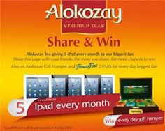 Alokozay Tea is giving away 5 iPad and Alokozay Gift Hamper. Gadgets And Gizmos, Technology Gadgets, Gift Hampers, Apple Ipad, Competition, Giveaways, Tea, Gifts, Accessories