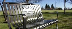 """""""In loving memory"""" Silver powder coated memorial bench From Premier Memorial Benches Diy Garden Fountains, In Loving Memory, Outdoor Furniture, Outdoor Decor, Chair Design, Cemetery, Benches, Mid Century, Memories"""