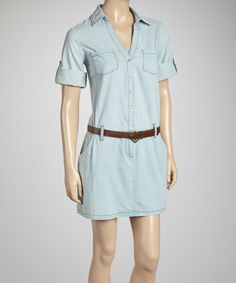 Take a look at this Light Denim Belted Dress by LOVE STITCH on #zulily today!