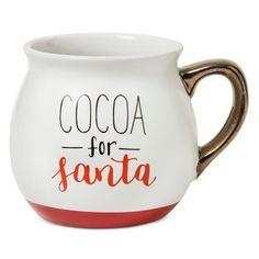 'Cocoa for Santa' 16oz Stoneware Belly Mug White - Threshold