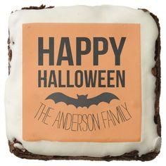 Personalized Happy Halloween Cartoon Bat Chocolate Brownie
