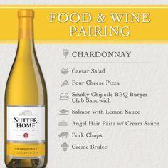 Sutter Home Wine & Food Pairing: Chardonnay Premium wines delivered to your door.  Get in. Get wine. Get social.
