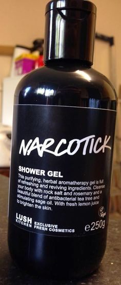 "Narcotick Shower Gel: ""This purifying, herbal aromatherapy gel is full of refreshing and reviving ingredients. Cleanse your body with rock salt and rosemary and a beautiful blend of antibacterial tea tree and stimulating sage oil. With fresh lemon juice to brighten the skin"""