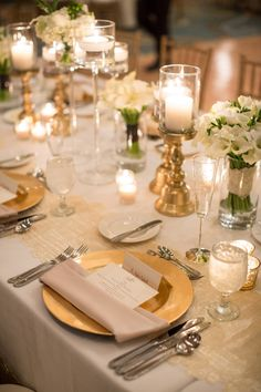 Gold Chargers Reception Decor | photography by http://justindemutiisphotography.com