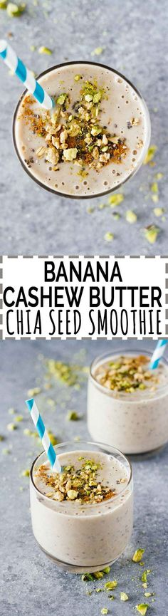 Banana Cashew Butter Chia Seed Smoothie! I've been OBSESSED with chia seeds in smoothies lately. So good! This one is vegan, vegetarian, gluten-free, refined sugar free, and can be made in 5 minutes. Make it in bulk, freeze it, and have it throughout the week!