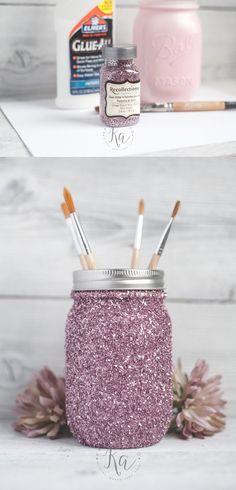Tarros decorativos con purpurina - kastyles.co - DIY Glitter Mason Jar