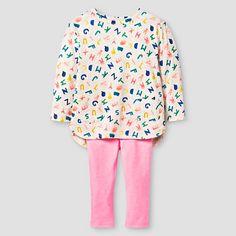 Baby Girls' Top and Bottom Legging Set Alphabet Oatmeal Heather - Cat & Jack™ : Target