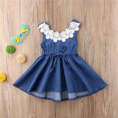 044f89d399e Toddler Girls Long-Sleeved Denim Bow Dress