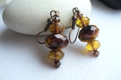 Drop Earrings with Amber Brown and Black Glass by Sparklesalot2, $6.50
