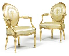 A pair of George III giltwood armchairs circa Classic Furniture, Antique Furniture, Cool Furniture, Soho House, French Chateau, Classic Interior, Louis Xvi, Upholstered Chairs, Art Decor