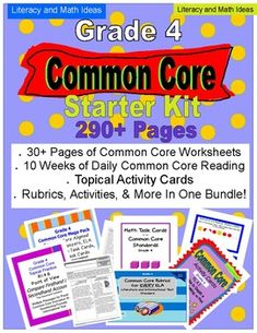 (290+ Pages of Common Core Resources) 12 Common Core Reading worksheets organized by standard for specific standard practice, 10 weeks of Daily Common Core Reading Practice (realistic fiction, poetry, informational text, plays, etc. are included), 3 printable boxes of Common Core activity cards (30 cards per printable box), Common Core reading and math task cards, Common Core graphic organizers, and more in one bundle $