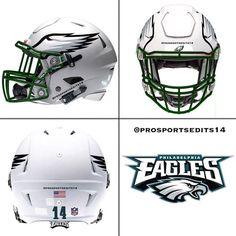 Philadelphia Eagles white concept design NFL football helmet