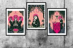 Ritual Triptych Set of 3 prints 2 SIZES Gothic Art   Etsy Memento Mori Art, Occult Art, Madonna And Child, Gothic Art, Triptych, Satan, Book Art, Wall Art Prints, Abstract