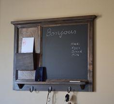 Chalkboard Mail Organizer letter holder Key by BeachWoodKreations