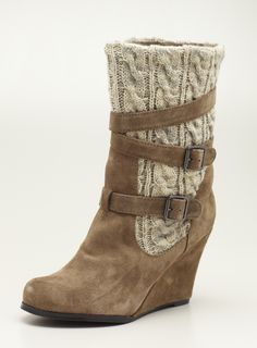 High Wedge Belted Bootie With Sweater Detail