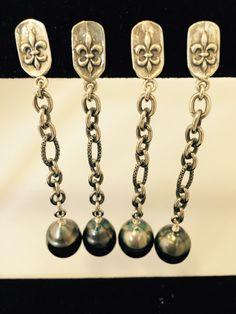 Oxidized Silver Link Chain w Black Pearls On Fleur de Lis Post Earrings