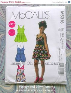 On Sale Girls Sundress and Rompers - McCalls 6316 - a Sewing Pattern. $4.80, via Etsy.