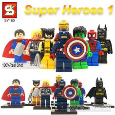 Marvel & Dc Super Heroes Action Figures the Avengers Ironman Spiderman Superman Batman Captain America Hulk Thor Wolverine Lego Marvel, Marvel Dc, Wolverine Pictures, Justice League Action Figures, Superman And Spiderman, Iron Man Captain America, Wedding With Kids, Comic Book Heroes, Party Bags