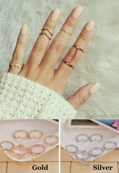 Fashion Leaves Diamond One Set Six Ring Chain Irregular Finger Joints Ring for big sale! #ring #fashion #chain