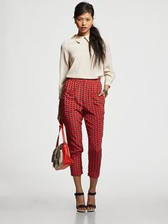 Marc by Marc Jacobs  Miro Silk Button-Back Blouse  $278.00  Lighthearted Silk Pants  $298.00   Turn-Lock Leather Cuff Bracelet  $88.00   Werdie Colorblocked Messenger Bag  $428.00   Patent Leather Wedge Platform Sandals  $350.00