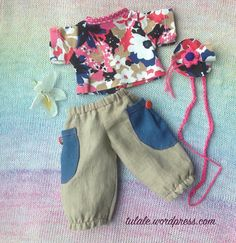 """OOAK Waldorf doll clothes /Doll clothes / Outfit for 12"""" 13"""" 14"""" dolls / Linen trousers with pockets, blouse, hairband  / Outfit for dolls"""