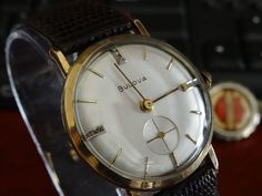Vintage 1957 Bulova President 17-J (11AC) w/ Diamond Dial Men's Watch - 10K RGP #Bulova #Dress