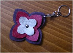 Items similar to Leather Keychain Floral Key Ring Burgundy Red Cream Leather Charm - LOTUS - Handmade Genuine Leather Original Accessories Sale on Etsy Leather Wallet Pattern, Leather Keyring, Sewing Leather, Leather Earrings, Leather Jewelry, Leather Craft, Sewing Crafts, Sewing Projects, Diy Keychain