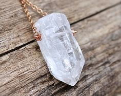 Clear Crystal Necklace Gypsy Jewelry from Hawaii Natural Crystal Raw Stone Necklace Boho Jewelry made in Hawaii Copper Bohemian Necklace