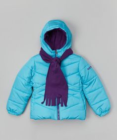 Loving this Aqua & Plum Scarf Jacket - Girls on #zulily! #zulilyfinds - For Sydnie - Love these coats because the fleece lining is sewn in, the scarfs are sewn on and there is no fur on the hood! Perfect!