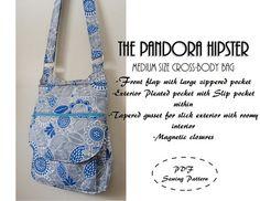 The Pandora Hipster: PDF SEWING PATTERN. Cross-body bag $10.50