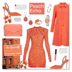 """Peach Echo"" by anyasdesigns ❤ liked on Polyvore featuring Balmain, Kate Spade, Goat, Faraone Mennella by R.F.M.A.S., Tiffany & Co., Nixon, NARS Cosmetics, women's clothing, women's fashion and women"